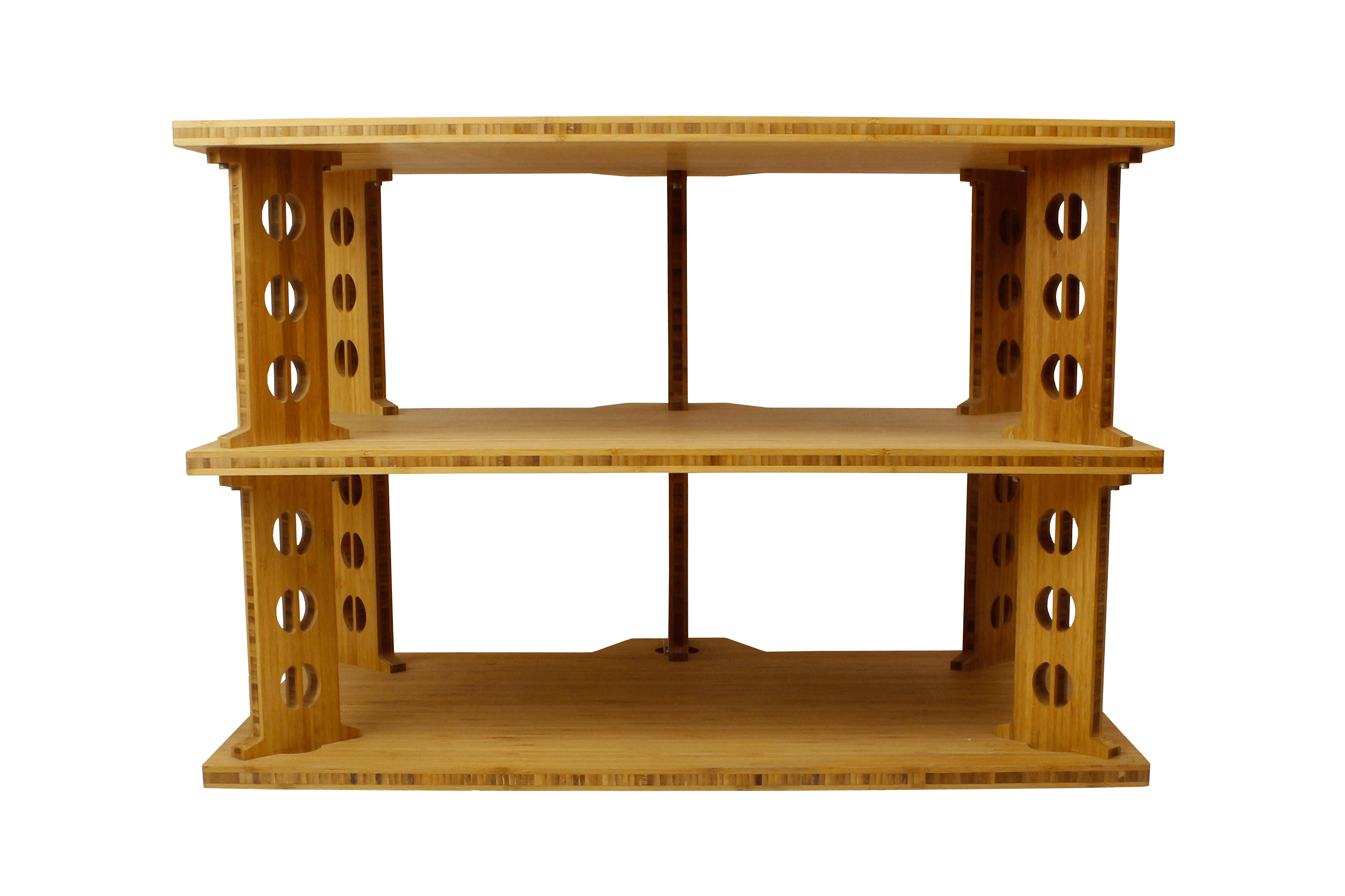 three shelf bamboo audio rack.