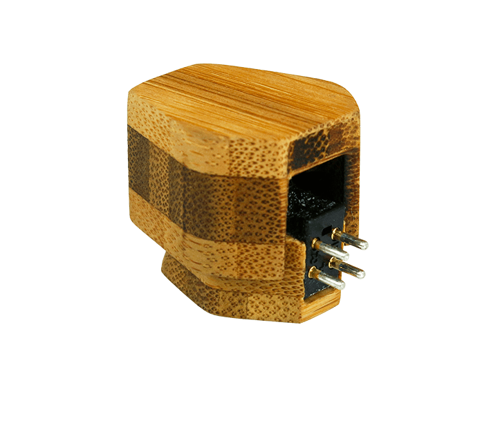 s series phono cartridge inside of it's protective bamboo case
